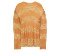 Woman Striped Mohair-blend Sweater Tan