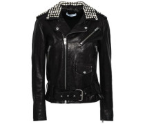 Noreta Studded Leather Biker Jacket Black
