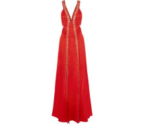 Nile Cutout Embellished Satin-crepe Gown Red Size 12