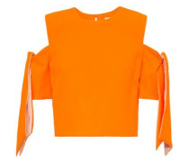 Ansley Cold-shoulder Knotted Neon Crepe Top Bright Orange Size 12
