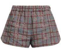 Sequined Checked Linen Shorts Gray