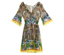 Ruffle-trimmed printed silk-chiffon dress