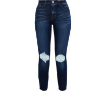 Abigail Cropped Distressed High-rise Slim-leg Jeans Dark Denim  3