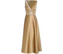 Tulle-paneled embellished duchesse-satin gown
