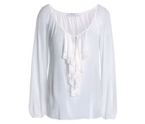 Ruffle lace-trimmed modal top