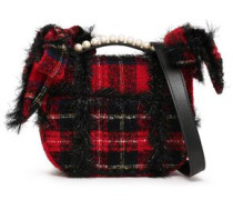 Embellished Checked Bouclé-tweed Shoulder Bag Red Size --