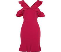 Delia Cold-shoulder Ruffled Crepe Mini Dress Fuchsia Size 12