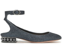 Faux Pearl-embellished Glittered Ballet Flats Midnight Blue