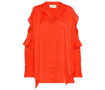 Pallerno Cold-shoulder Ruffled Satin Blouse Red