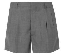 Woman Pleated Wool-piqué Shorts Black