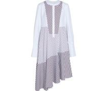 Asymmetric twill-paneled striped cotton-poplin shirt dress
