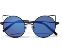 Round-frame Metal And Acetate Mirrored Sunglasses Black Size --