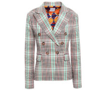 Double-breasted Prince Of Wales Checked Cotton-blend Blazer Turquoise
