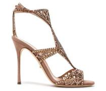Crystal-embellished laser-cut suede sandals