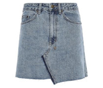 Distressed Denim Mini Skirt Mid Denim  5