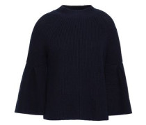 Ingrit Fluted Cotton And Cashmere-blend Sweater Midnight Blue