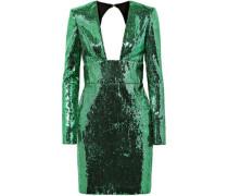 Open-back Sequined Chiffon Mini Dress Green