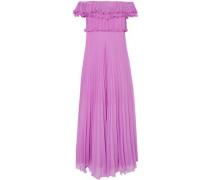 Off-the-shoulder Plissé-georgette Gown Lilac