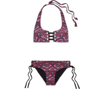 Mckinley Lace-up Printed Halterneck Bikini Multicolor