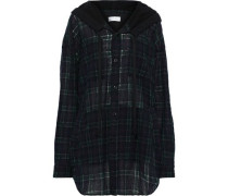 French Terry-paneled Checked Wool-blend Hooded Top Dark Green