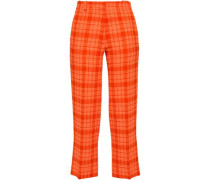 Cropped Checked Wool-blend Crepe Straight-leg Pants Bright Orange
