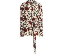 Belted floral-print silk crepe de chine top