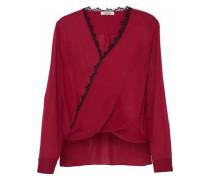 Rosario Lace-trimmed Wrap-effect Silk Blouse Crimson