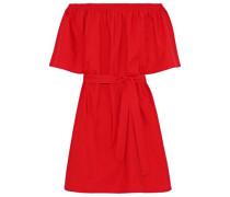 Shelly Off-the-shoulder Belted Cotton-poplin Dress Red