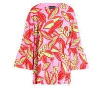 Floral-print woven cotton-blend coat