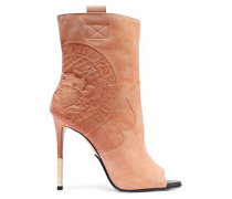 Woman Embossed Suede Ankle Boots Blush