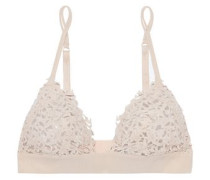 Silk-blend embroidered tulle soft-cup triangle bra