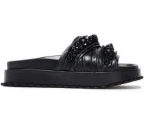Bead-embellished Leather Slides Charcoal