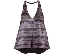 Nika Split-front Striped Silk-blend Lamé Halterneck Top Lavender Size 0