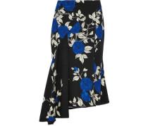 Asymmetric ruffled floral-print crepe midi skirt