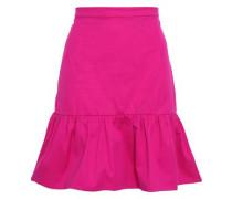 Fluted Cotton-blend Twill Mini Skirt Fuchsia