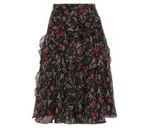Ruffled Floral-print Georgette Skirt Black