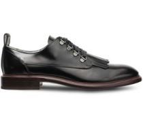 Bead-embellished Fringed Polished Leather Brogues Black