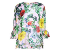 Fluted floral-print devoré silk-blend chiffon top