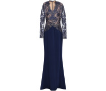 Woman Paneled Metallic Lace And Silk-crepe Gown Navy