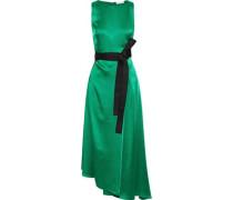 Woman Asymmetric Wrap-effect Satin Midi Dress Emerald