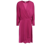 Hammered Washed Woven Wrap Dress Magenta
