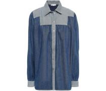 Paneled Denim Shirt Mid Denim