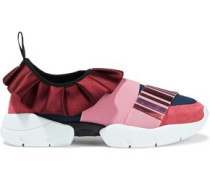 Woman Appliquéd Suede, Satin And Neoprene Sneakers Pink