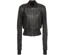 Ribbed Knit-paneled Pebbled-leather Bomber Jacket Black