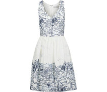 Isadora pleated printed cotton-blend dress