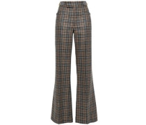 Checked Wool-blend Flared Pants Light Brown