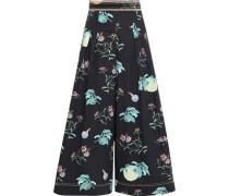 Pleated Floral-print Cotton-poplin Culottes Black Size 16