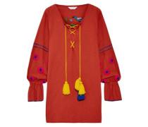 Embroidered cotton mini dress