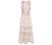 Simmone Ruffled Studded Georgette Midi Dress White