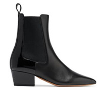 Rouge-ish matte and patent-leather ankle boots